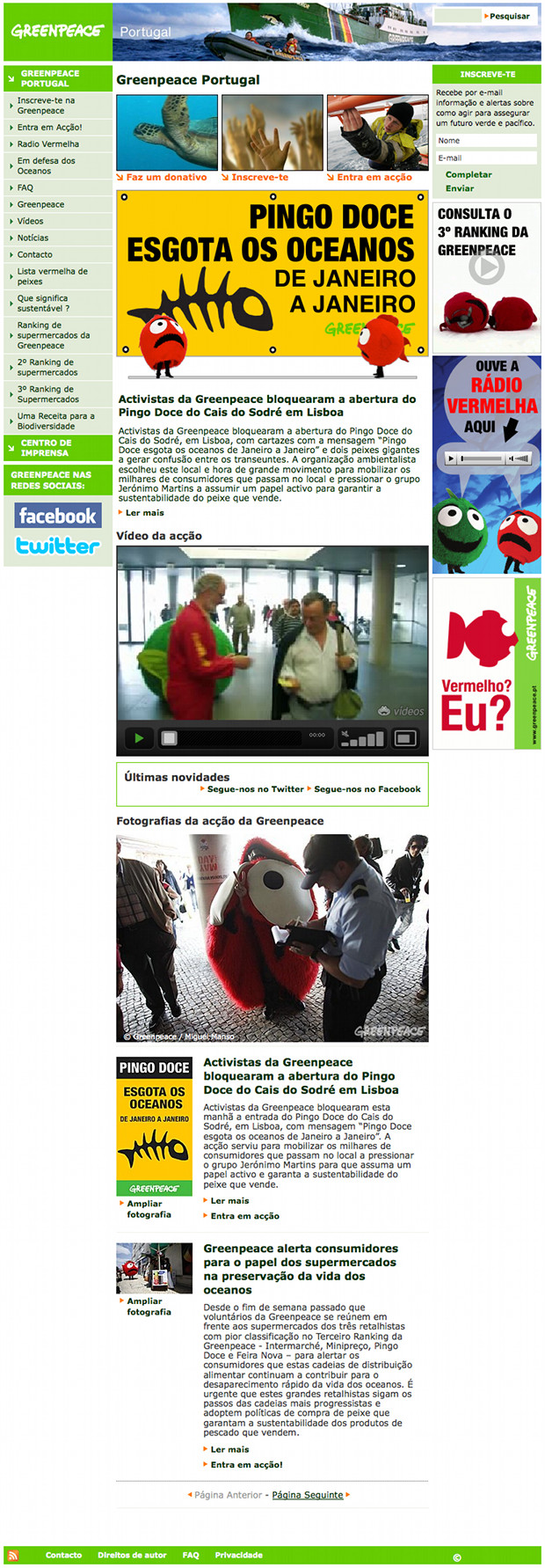 [ Screenshot of Greenpeace's Portugal Planet 2 website ]