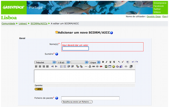 Adding a SCORM e-learning package in Moodle