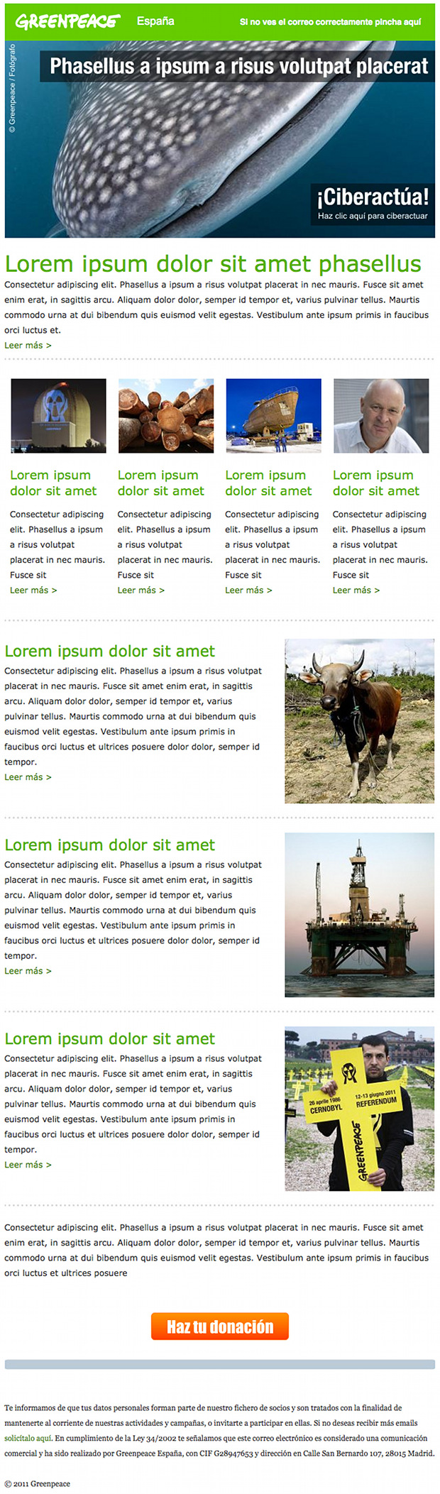 Greenpeace's montly newsletter email template