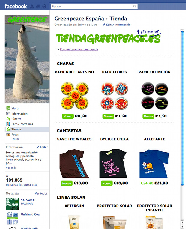 Online store showcase - Facebook App for Greenpeace